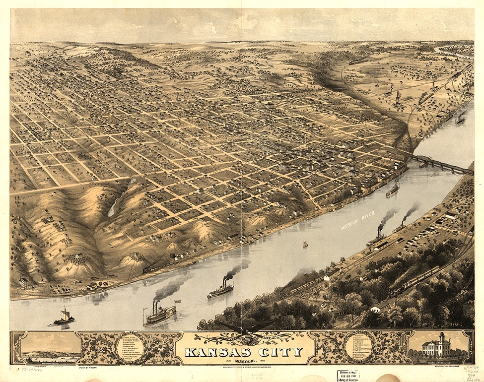 An artist's aerial view of Kansas City in 1869 with the newly completed Hannibal Bridge across the Missouri River