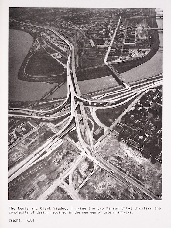 Photograph of the Lewis and Clark Viaduct between Kansas City, Kansas, and Kansas City, Missouri, that illustrates the complexity of urban freeways.