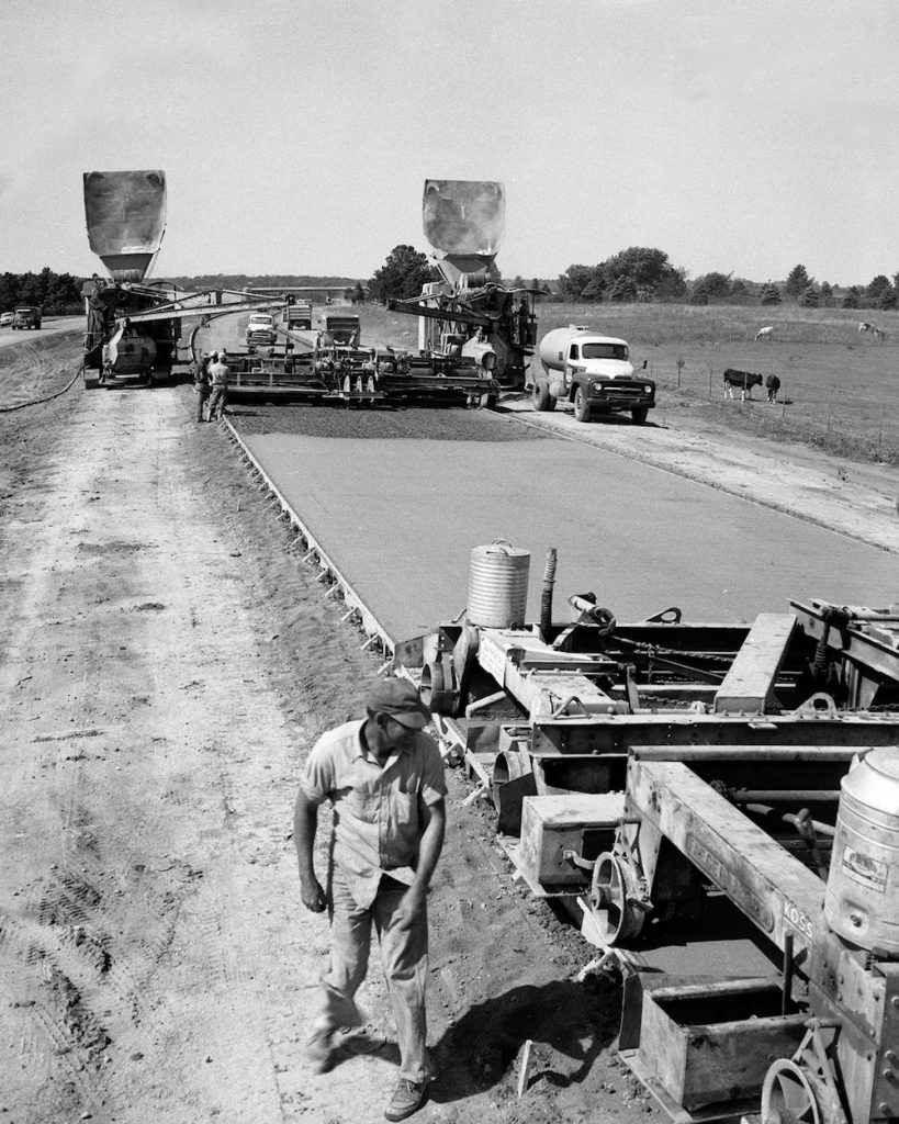 Paving a section of Interstate 70 west of Topeka, Kansas, in 1959. Photograph courtesy of the Kansas Department of Transportation.