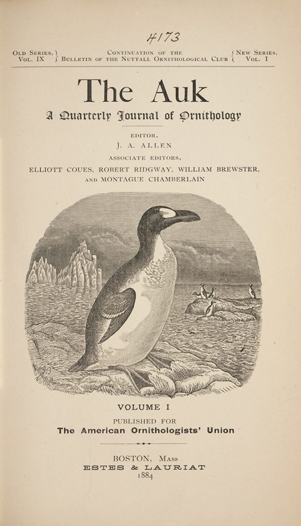 cover of the first issue of The Auk, their official journal of scientific ornithology