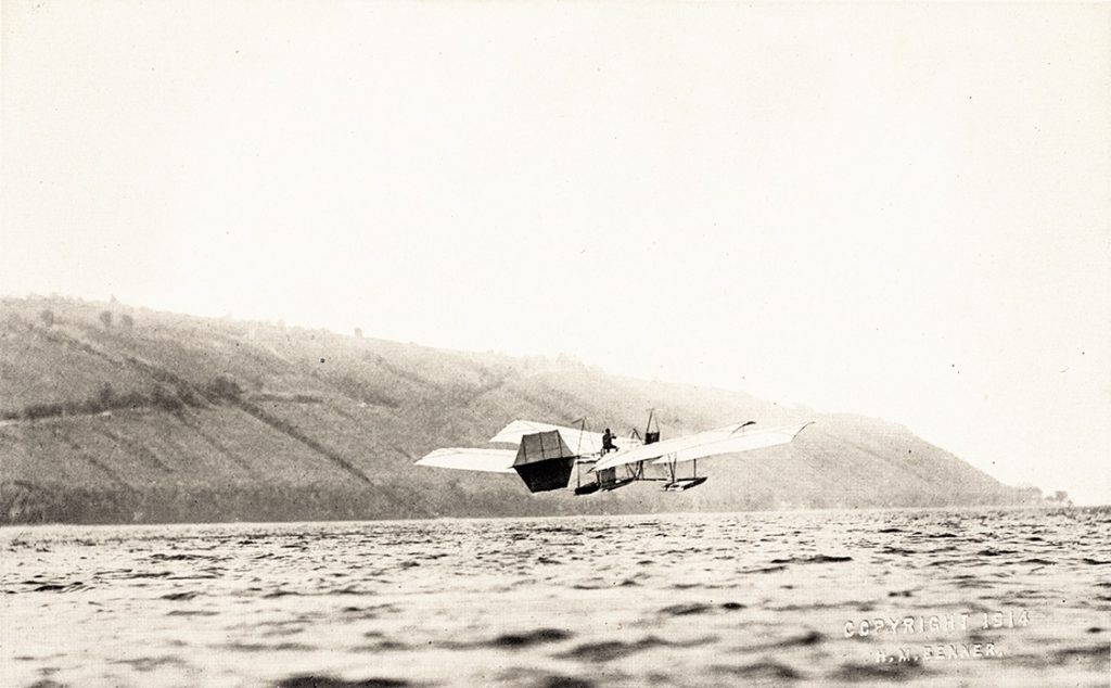 Photo of Aerodrome taking flight above Lake Keuka near Hammondsport, New York