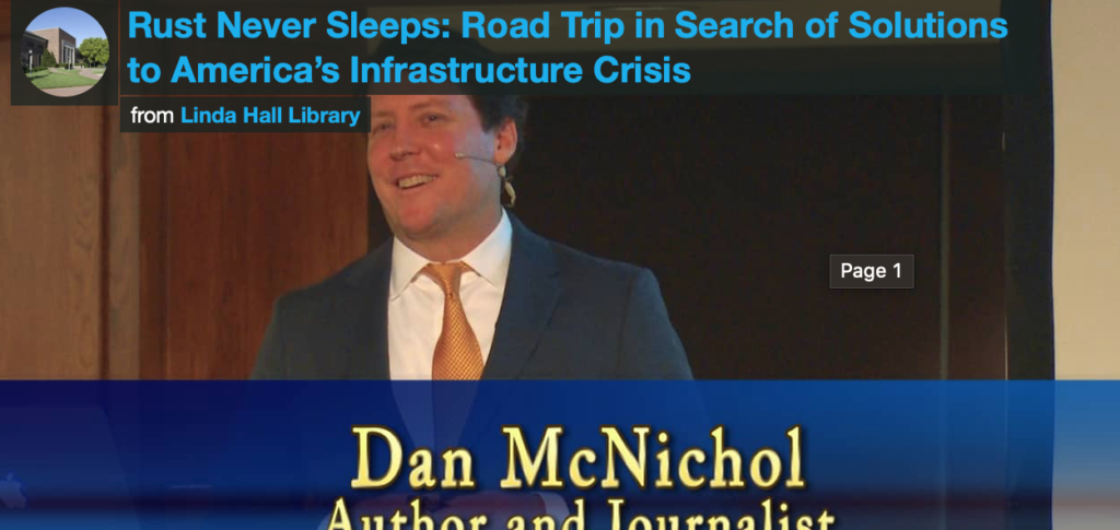 "still from Dan McNichol,'s ""Rust Never Sleeps: Road Trip in Search of Solutions to America's Infrastructure Crisis"""