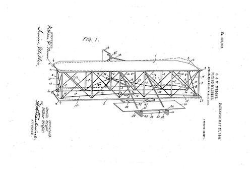 "Image of The Wright Brothers' ""wing warping"" patent"