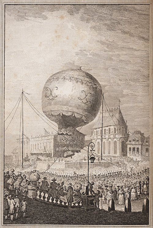 Illustration of the first balloon flight on September 19, 1783. The balloon stood 57 feet tall and was 41 feet in diameter.