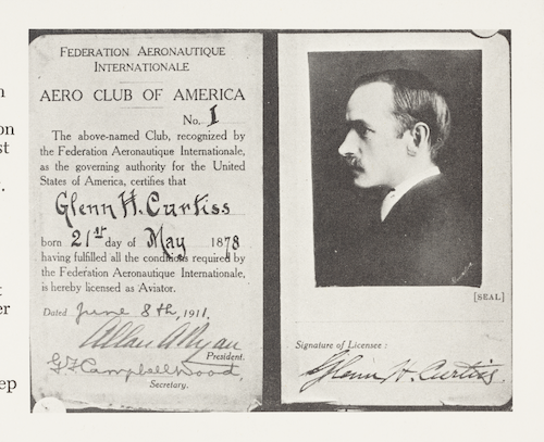 photo of Glenn Curtiss' pilot license