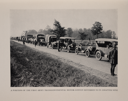 photo of a caravan of cars on The Lincoln Highway