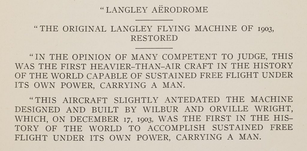 Display text for Langley's Great Aerodrome on display at the Smithsonian Institution