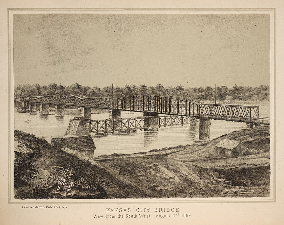 Illustration of the The Kansas City Bridge in 1869
