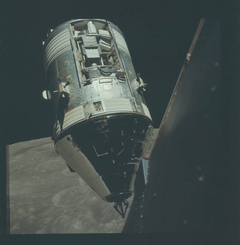 Apollo 17 Command Module, America, that gives a clear view of the SIM bay.