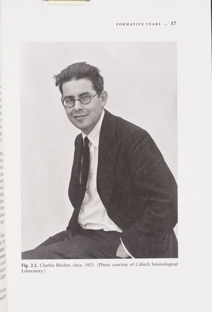 Photograph of Charles Richter by Caltech Seismological Laboratory in Hough, Susan