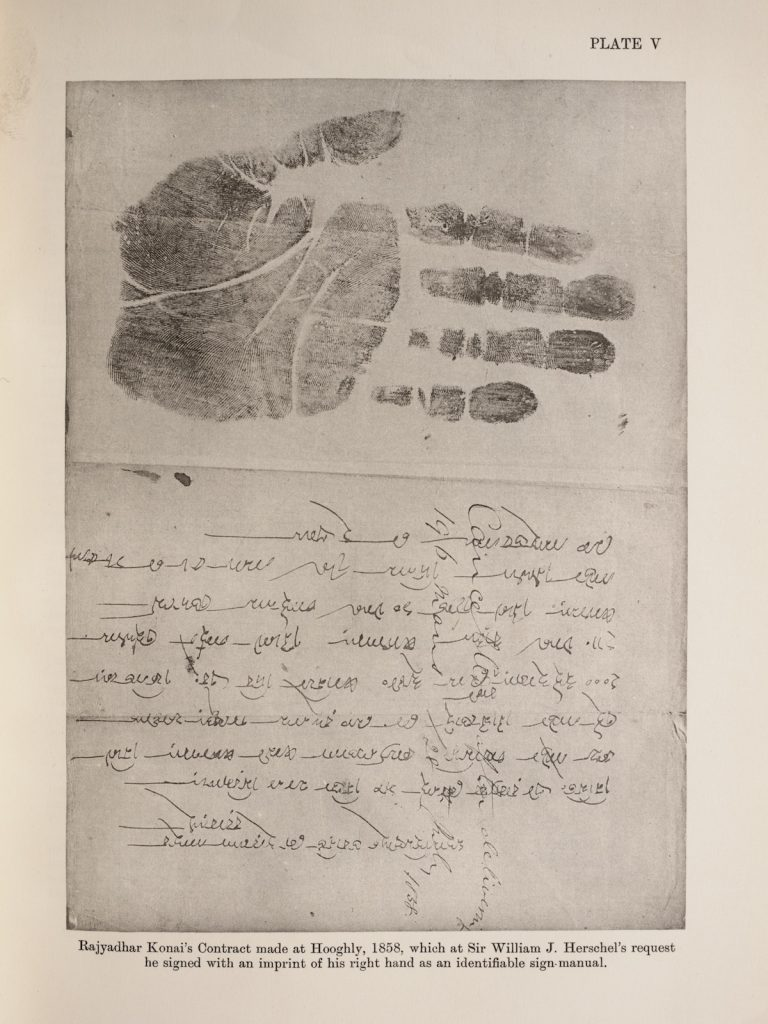 A contract signed using a hand print
