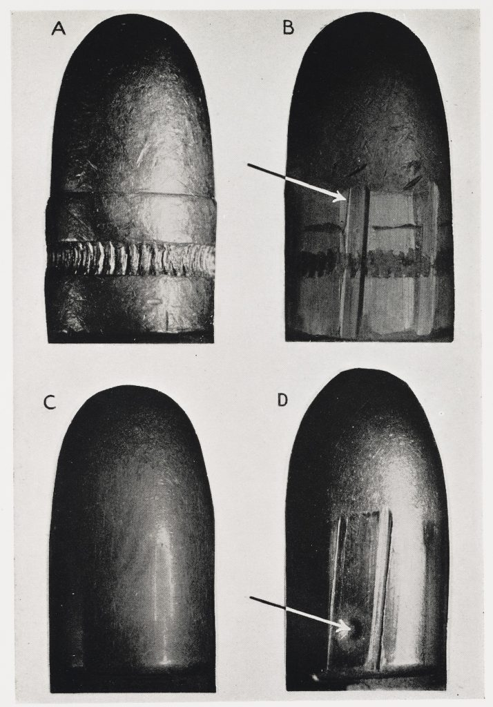 Before and after images of bullets
