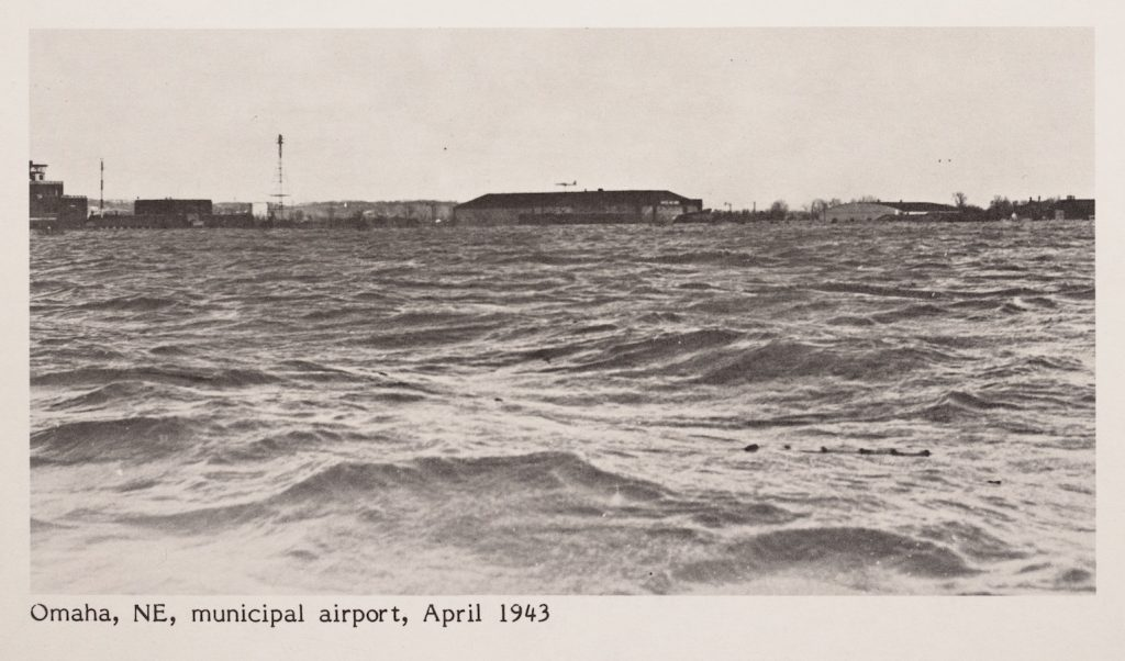 Image of the Omaha airport under several feet of water