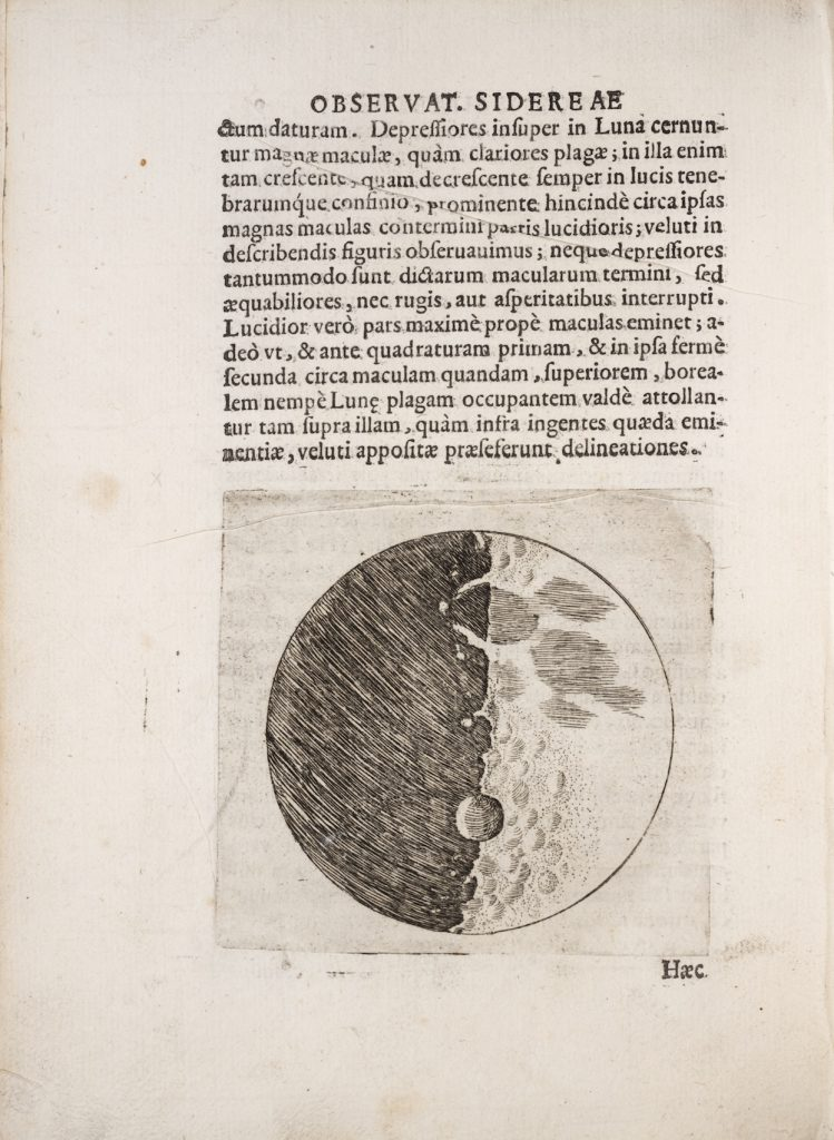 Image of Galileo's engraving of a first quarter Moon