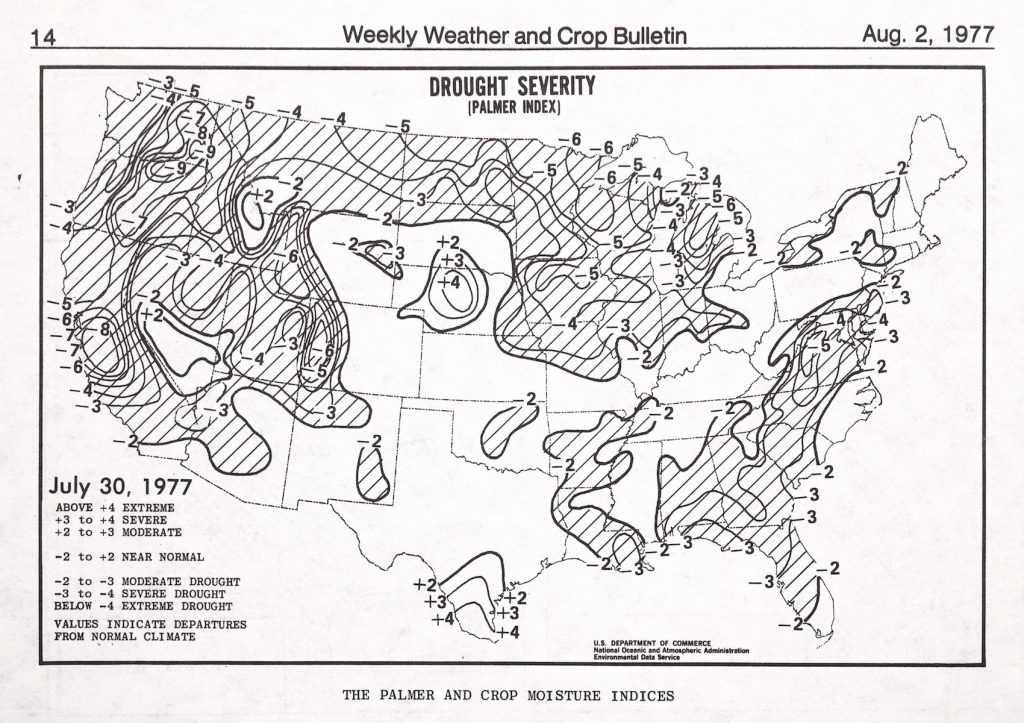 Map of U.S. showing the drought severity