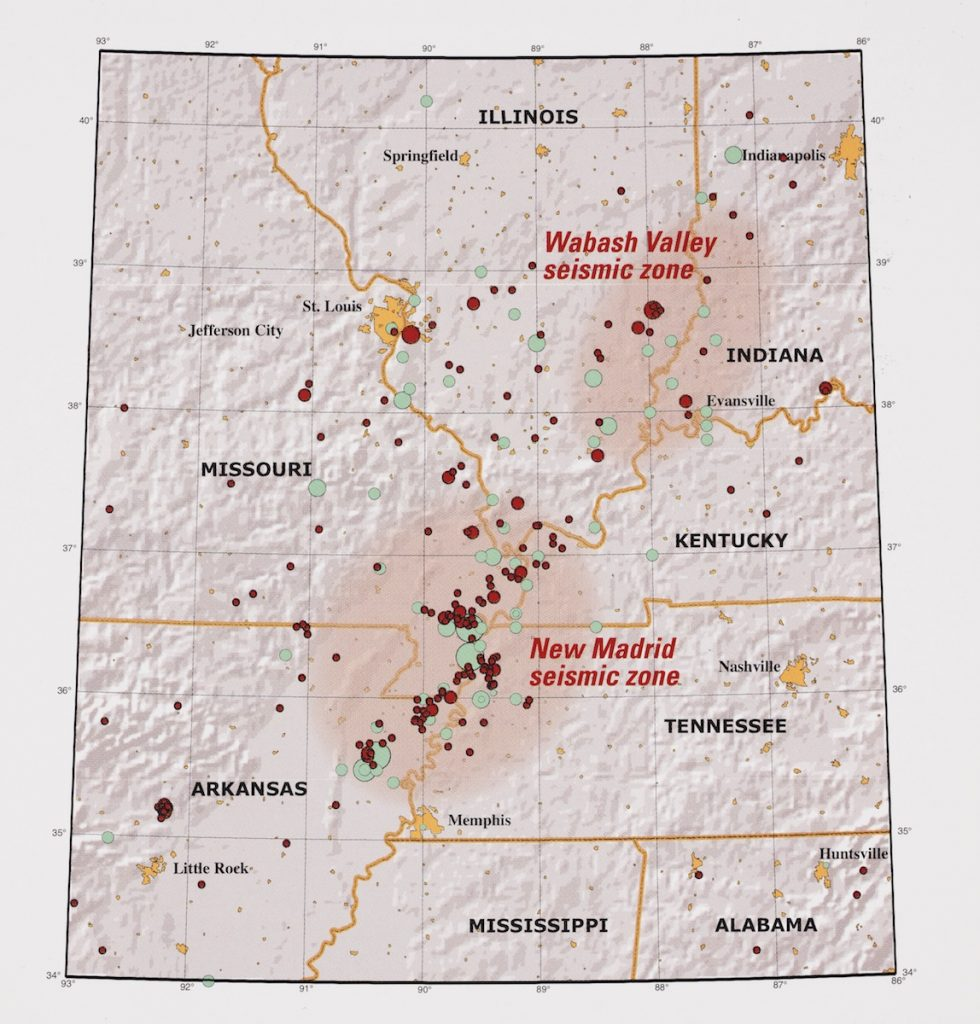 Map showing earthquakes from 1974-2002 in red circles and those that occurred prior to 1974 in green circles
