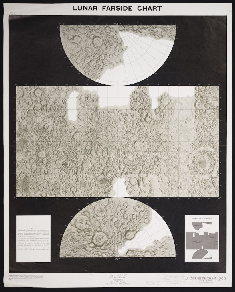 Image of a section of the first edition of a lunar farside chart published by NASA in 1967