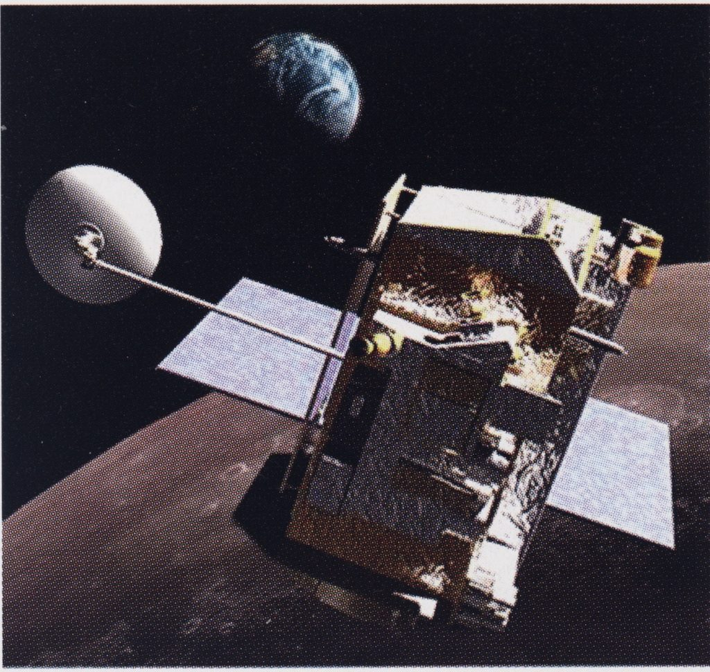 Artist illustration of the LRO in lunar orbit where it remains today performing science experiments.