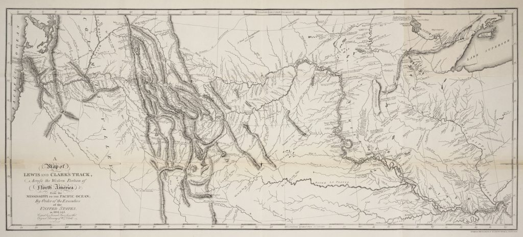 Map of land acquired by the U.S. along the Missouri River Basin in 1803