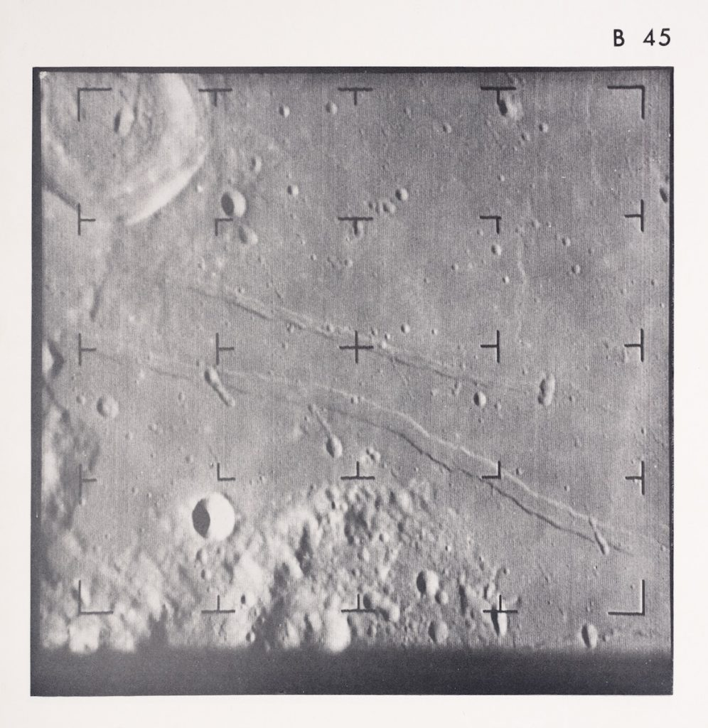 Ranger VIII photograph of Mare Tranquillitatis 5 seconds before impact. The image area is one mile across.
