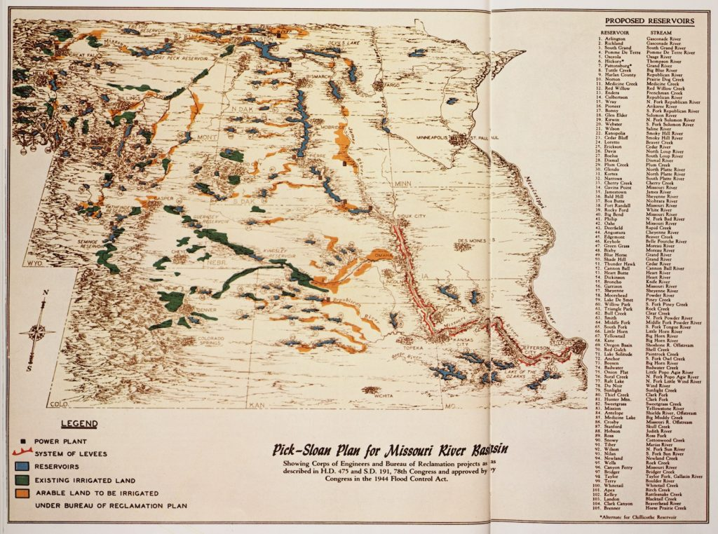 1947 U.S. Army Corps of Engineers map of Pick-SLoan Projects
