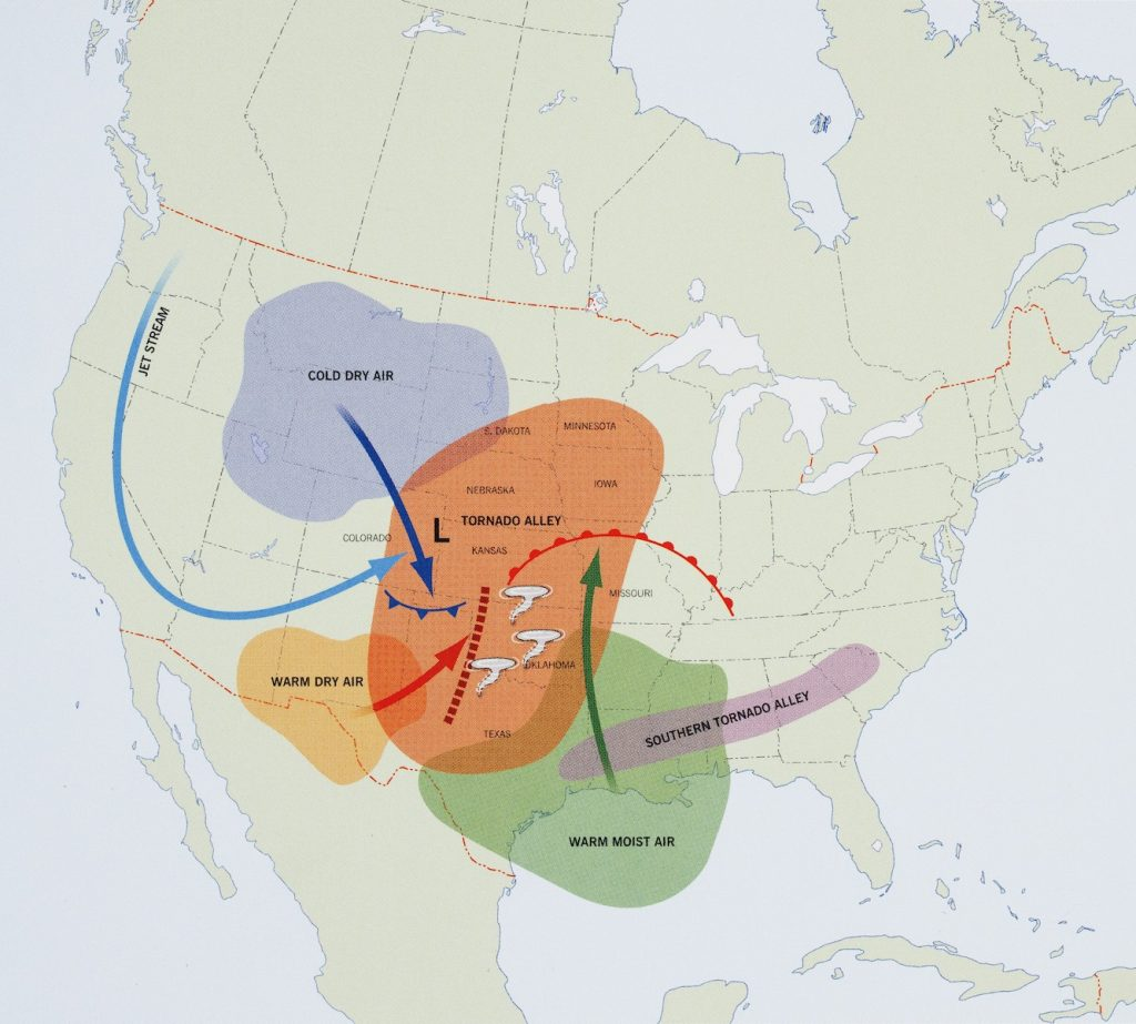 Map of U.S. showing tornado alley