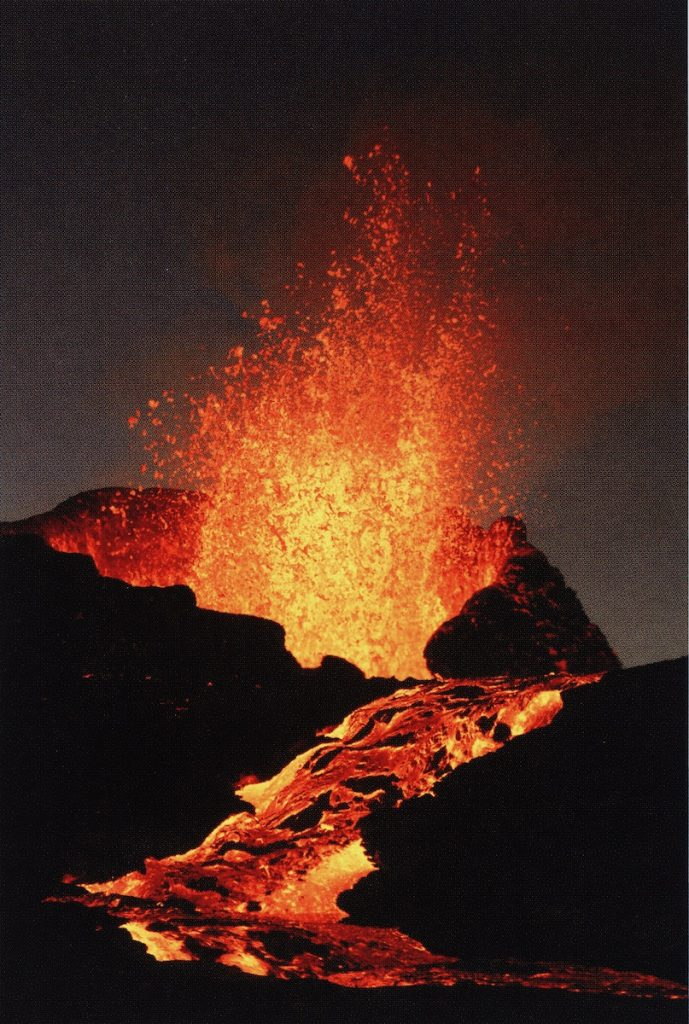 Explosive eruption from Hawaii's Kilauea and Muana Loa volcanoes effusive eruption resulting in hot lava flowing