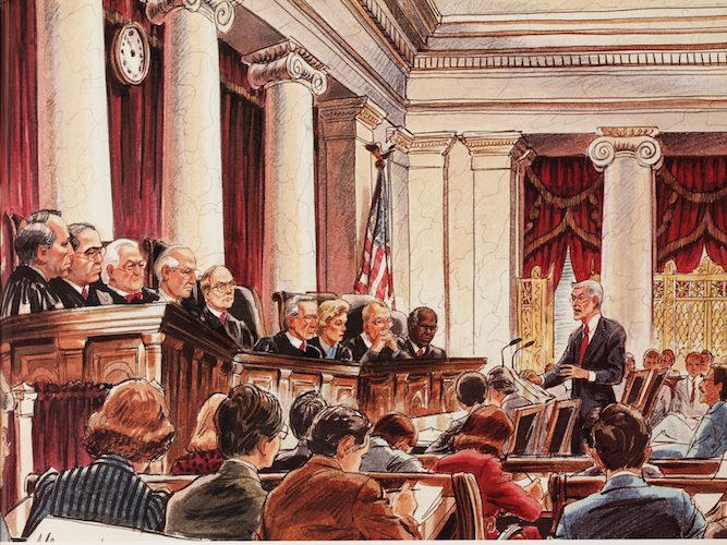 Artist Betty Wells' drawing of Charles Fried, attorney for Merrell Dow, presenting oral arguments before the U.S. Supreme Court